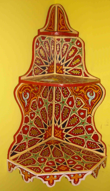 Mensola marocchina angolare mobili e complementi mobili marocchini in legno di artigianato - Mobili marocchini ...