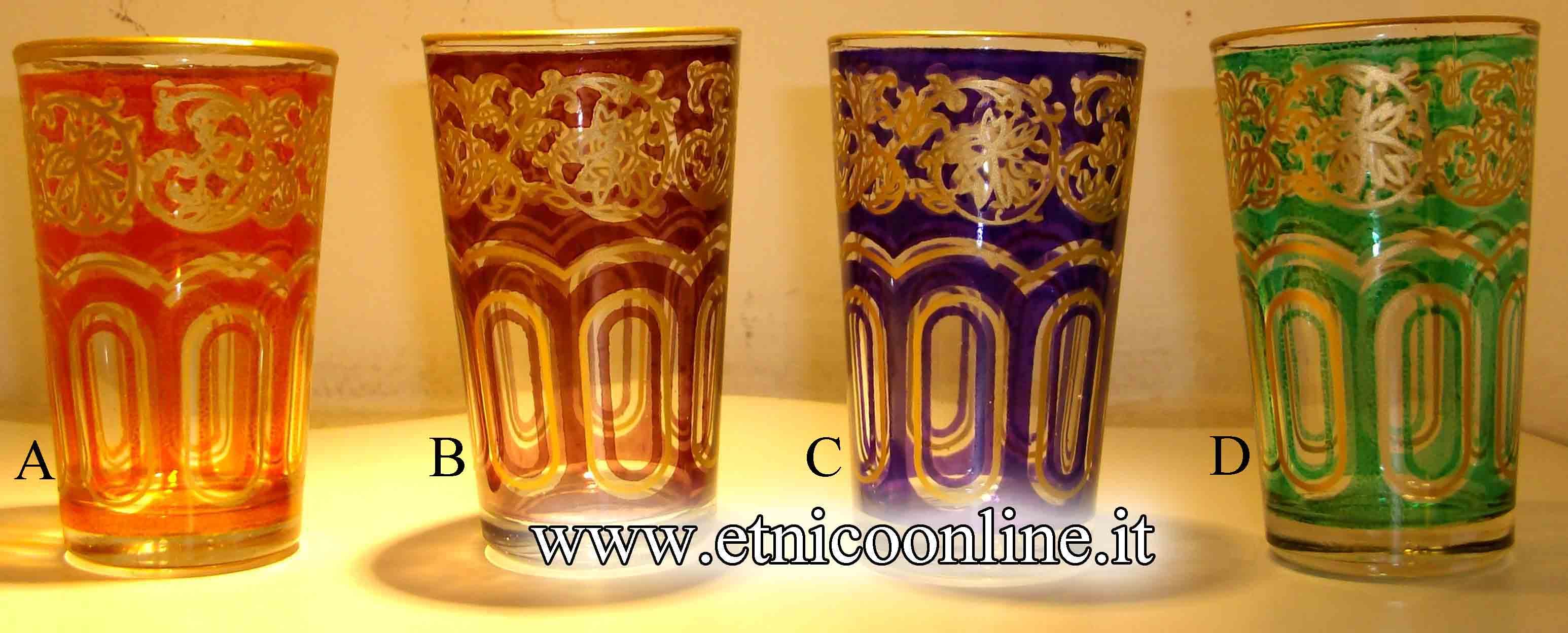 Bicchieri marocchini oggettistica teiere e accessori di for Vendita bicchieri
