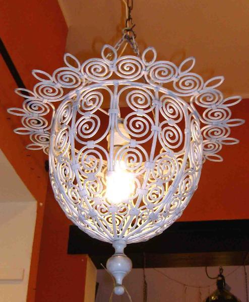 lampadario marocchino bianco in ferro forgiato diametro 30 x h 40 cm ...