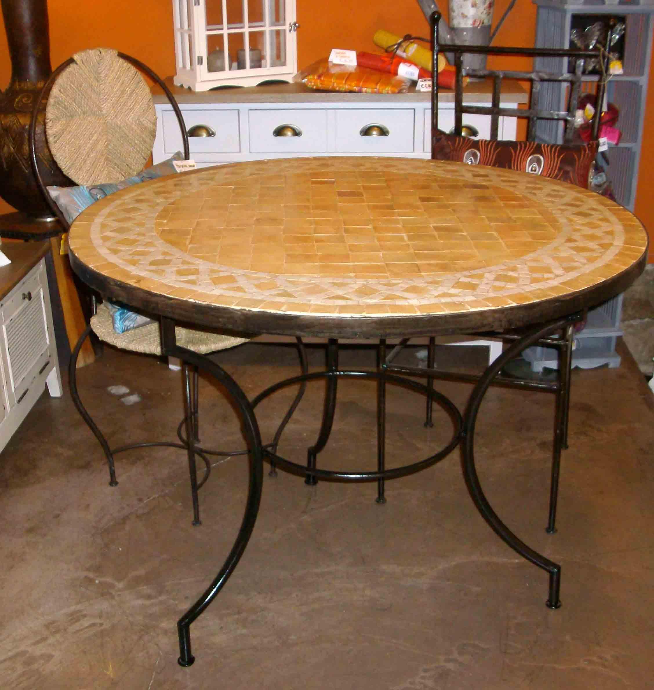 Tavolo zellige mobili e complementi tavoli tavolini ferro e zellige marocchini di artigianato - Mobili marocchini ...